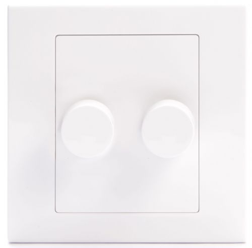 Simplicity White Screwless Rotary 2 Gang LED Dimmer Light Switch 07220